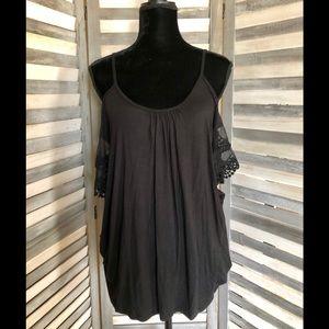 Black Lace Sleeve Cold Shoulder Top